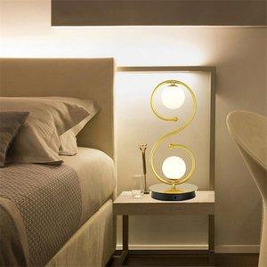 Black Gold Led lampada da tavolo semplice S-Curve Desk Lamp della luce del libro di lettura pulsante interruttore da letto Soggiorno Studio Ufficio illuminazione della decorazione