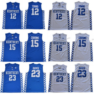 Kentucky Wildcats Maglie College Basketball DeMarcus 15 Cousins ​​John 11 Wall Anthony 23 Davis Devin 1 Booker Karl Karl-Anthony 12 Towns