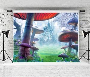 Traum 7x5ft Neborn Geburtstag Backrops Vinyl Kinder Fotografie Hintergrund Castle Forest Giftige Pilze Fotografie-Kulisse