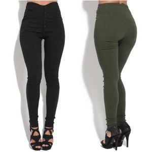 Recomendaciones del diseñador Los pantalones de mujer más vendidos forman el botón de las nuevas mujeres polainas ajustadas sexy pantalones elásticos adelgazantes ventas al por mayor