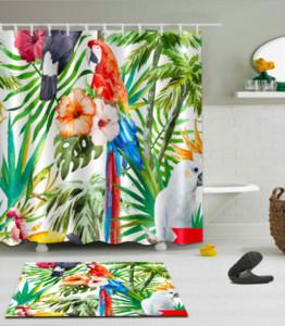 3D Forest Birds Imprimer Motif Irlandais Décorations Imperméable À L'eau De Salle De Bains Décor Tissu Douche Rideaux Tapis De Sol ensembles