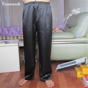 Pantalones de pijama de seda hombres primavera y otoño hombres salón pantalones de dormir ocio cómodos auges del sueño 9 colores