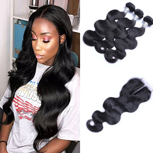 Brazilian Body Wave Waves Virgin Weaves com 4x4 Lace Fechamento Não processado Remy Cabelo Humano Tece Double WeT Natural Black Color 4 pçs / lote