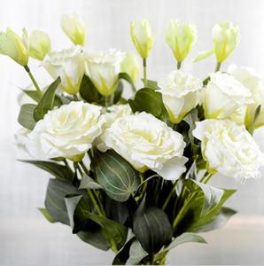Цветочная ветка 7Pcs / lot Искусственные цветы 3Heads Поддельные Eustoma Gradiflorus Lisianthus на осень осень Свадьба Украшение дома венки
