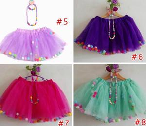 Tutu menina saias 3 pcs Set bebê arco-íris pompons pettiskirt + colar + pulseira 3 PCS menina festa de aniversário Costum