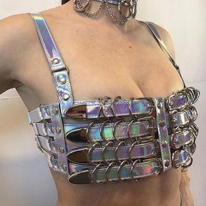 Free shipping harnesses Woman Bondage Cage bra Fetish harness women lingerie Bdsm cage Women bra bondage PU Laser Top bra Harness