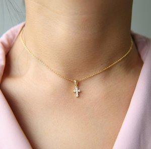 32 + 8 cm cruz colgante gargantilla collar lindo cz cruz encanto mujer niña clásico simple joyería lindo adorable 925 plata esterlina cruz collar