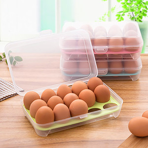 Caja de almacenamiento transparente para huevos Refrigerador Crisper 15 Rejillas Cesta de almacenamiento de huevos Rejilla Cartones de huevos portátiles Herramienta de cocina WX9-257