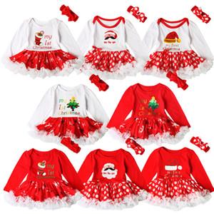 Новорожденных девочек Рождество печати Красное платье 2ps устанавливает вязание крючком повязка на голову + Xmas шаблон ползунки Младенцы первые рождественские подарки милые наряды A08