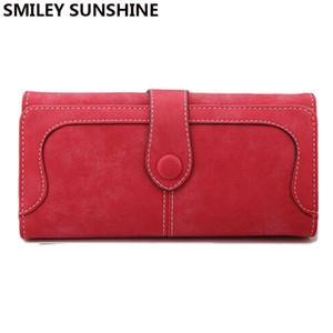 SMILEY SUNSHINE marca carteras de las mujeres 2017 de cuero femenino larga cartera roja grandes monederos de las mujeres monederos portefeuille femm