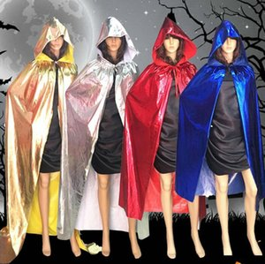 Взрослый размер Halloween Party Cloak Decoration Cool Grim Reaper Vampire Cosplay Cloak Props Gold Silver Red Black Blue