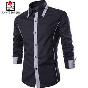 2017 New Fashion  Men Shirt Decorative Tie Dress Shirt Long Sleeve Slim Fit Camisa Masculina Casual Male Shirts Model White
