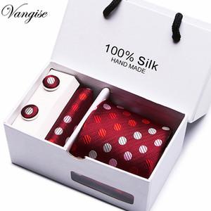 Gif kutusu Ambalaj Mens Kırmızı nokta Bağları Aksesuarları Çizgili Paisley İş Kravat Seti Mendil Erkekler için Mendil Kol Düğmeleri Kravat