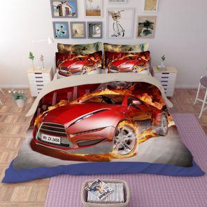 3D 레드 레이스 자동차 침구 세트 100 % 폴리 에스터 스포츠카 디자인 듀벳 커버 침대 세트 트윈 전체 퀸 킹 사이즈 3pcs 침구