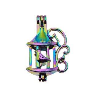 10 pcs rainbow color fun gaiola de pérola gaiola de pérolas gaiola pingente de óleo essencial difusor diy jóias medalhão para oysterperings