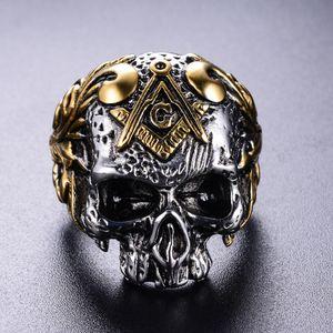 316 Paslanmaz Çelik gümüş altın iki ton erkek kafatası kafa Masonik signet yüzük AG amblemi punk gotik adam mason İskelet yüzükler takı