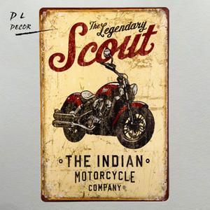 """Scout Indian Motorcycle"" خمر القصدير علامات بار حانة دراجة نارية ملصقات مع ضرب ، ديكور المنزل ، رجل الكهف"