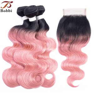 1b розовое розовое золото Ombre человеческих волос пучки с закрытием бразильский волна тела волос 3 пучки с 4x4 кружева закрытия Реми наращивание волос