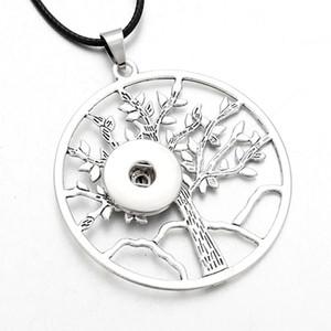 Новые Привязать ювелирные изделия Подвески Дерево Дерево Snap кнопки ожерелье с цепи подходят 12мм или 18мм Кнопка украшения для женщин