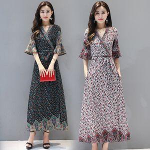 Yeni uzun Hindistan Pakistan Giyim ilkbahar yaz Ulusal Stil Vintage Kadınlar Bohemya Baskı Tek parça elbise Hint Elbise etnik giyim