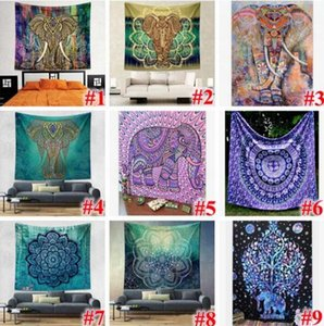 22 Designs 150*130cm Tapestries Bohemian Mandala Beach Tapestry Hippie Throw Yoga Mat Towel Elephant Peacock Beach Shawl