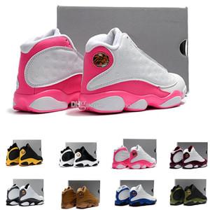 13 tênis de basquete juvenil rosa / branco amor respeito preto branco dmp playoffs criados garoto menino e menina 13s eur28-35 us11c-3y
