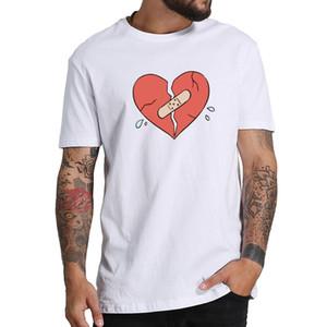 Lil Xan T- 셔츠 XPersonality Broken Heart Tshirt 남성 여성 퓨어 코 튼 소프트 힙합 티 셔츠 옴므 EU 크기