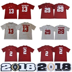 NCAA Alabama Crimson Tide 13 Tua Tagovailoa 2 Jalen Hurts #3 Ridley 29 Fitzpatrick 9 Scarbrough Red White 2018 Championship футбольные майки