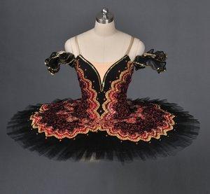 Adulte Espagnol Bourgogne Noir Pancake Tutu Femmes vert professionnel Ballet Tutu Filles rouge noir Stage Costume Platter pour enfants vêtements de danse