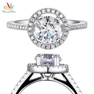 Павлин Звезда твердые стерлингового серебра 925 свадебное обещание обручальное кольцо Halo ювелирные изделия 1.25 карат CFR8003 D18111306