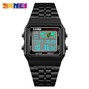 SKMEI Weltzeit-Multifunktionsuhr-Art- und Weiseviereck-Edelstahl-Band-Digitaluhren imprägniern 12 / 24Hour Kalender-Warnungs-Armbanduhr