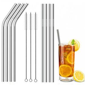 30 20 oz Aço Inoxidável Durável Palha de Metal Reutilizável 10.5 e 8.5 polegada Extra Longa Beber Curva e Palhas Em Linha Reta Para 30 oz 20 oz Copos Canecas
