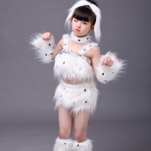 costumes de danse de chien blanc mignon pour les costumes de danse des filles