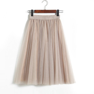 Spring and Autumn Fashion Woman High Waist Pleated Solid Color Half Length Elastic Skirt Lady Tulle Skirts