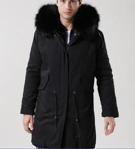 2018 hommes classiques vestes noir fourrure de raton laveur garniture Meifeng Marque fourrure de lapin noir doublure toile noire longues parkas