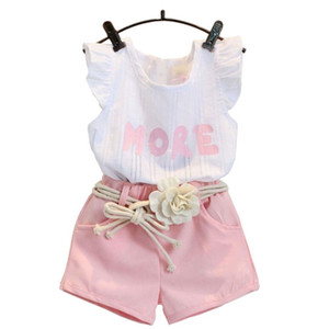 Fashion pink clothes set for girl clothing set suit with flower belt children clothes retail kids baby clothes set k1