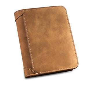 Матовый кожаный бумажник ретро три раза вертикальный PU кожа сцепление Молодой корейский мульти-карты немного бумажник мужской кошелек