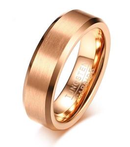 Anneau de mariage 6mm en or rose brossé Bague en carbure de tungstène pour hommes et femmes confort ajustement VENTE CHAUDE aux USA et en Europe