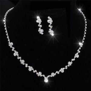 Argent boucles d'oreilles collier de demoiselle d'honneur cristal ensemble mariage bijoux de mariée xbuk