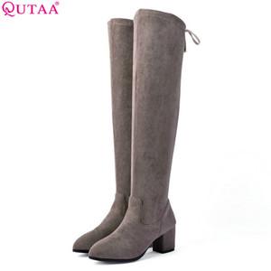 QUTAA 2019 Donne sopra gli stivali alti al ginocchio Scarpe da donna Stivali invernali Scarpe tacco alto quadrate tinta unita grande 34-43