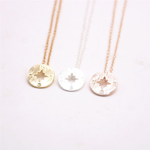 Мода 18k золото серебро простой кулон геометрические самолет формы ожерелье компас ожерелья-Бесплатная доставка лучший подарок для женщин