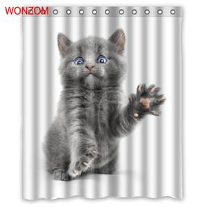 WONZOM 고양이 샤워 커튼 욕실 12 후크 장식 방수 액세서리 현대 동물 목욕 커튼 새로운 선물