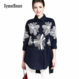 SymorHouse Women Blouses Turn-down Collar Loose Embroidered Shirt Tops Work Casual Vintage Linen Blouse Plus Size Women Blusa