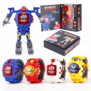 Deformação robô ação de transformação relógio de pulso de brinquedo crianças robô relógio eletrônico presentes criativos brinquedos educativos relógio de brinquedo