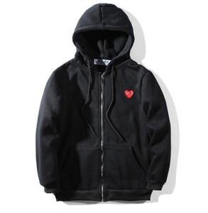 2019 봄 가을 브랜드 의류 놀이 스웨터 플러스 크기 느슨한 붉은 심장 자 수 문자 두건 후디 남자 여성 풀 오버 후드