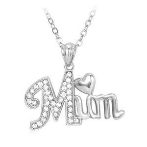 1 PCS Collana a forma di cuore lettera mamma con collana a catena a forma di diamante Clavicular Mamma Festa della mamma Festa di compleanno Nave libera