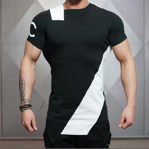 Nuovi uomini stile estivo moda t-shirt fitness e bodybuilding slim fit o-collo t-shirt per il tempo libero muscolo maschio maniche corte abbigliamento t-shirt