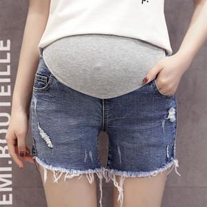 Pasamanería Franja Pantalones cortos de maternidad del dril de algodón Cintura elástica Jeans cortos Ropa para mujeres embarazadas Pantalones cortos de embarazo de verano