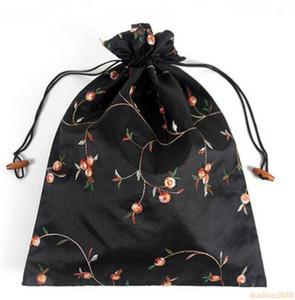 27 * 37cm Cinese Handmade Embroiderd Sacchetti di scarpe floreali di seta Con coulisse portatile Borse da viaggio Custodia 50pcs