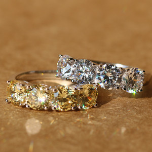 Neue Design Krone Voll Bling Simulierte Kristall Hochzeit Ringe 925 Sterling Silber Klar Zirkon Damenmode Schmuck Ring Edlen Schmuck